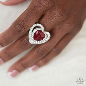 Charming Red Heart Stretch Ring NWT